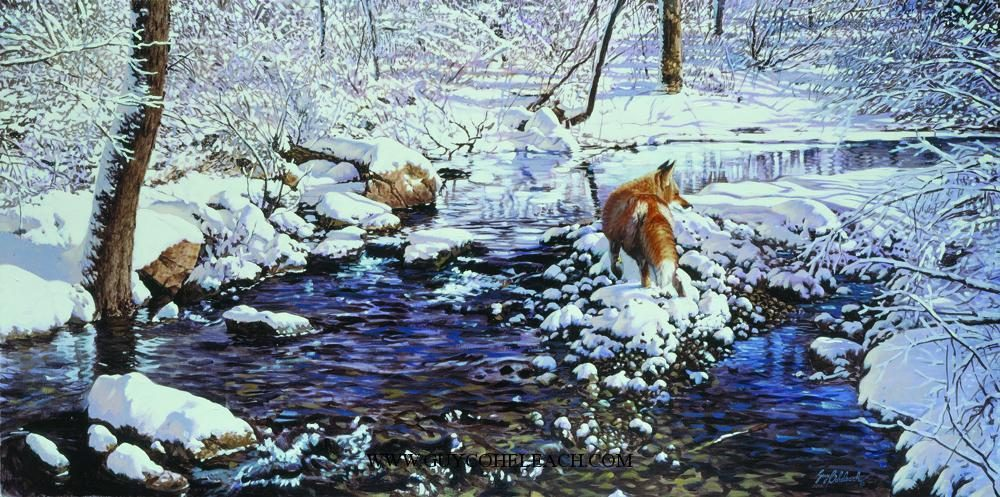 """Raritan Feeder Fox""  -  36"" x 72"" ""Raritan Feeder Fox"" - Canine  Wild Canine Paintings  Wolf and Fox Artwork"