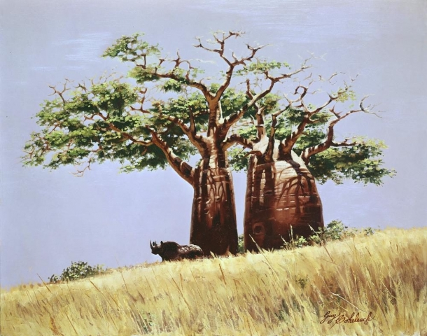 "Rhino and Baobob Tree<BR>16 X 20 ""Rhino and Baobob Tree"" - African Game  African Game Paintings  Plains Game Art"
