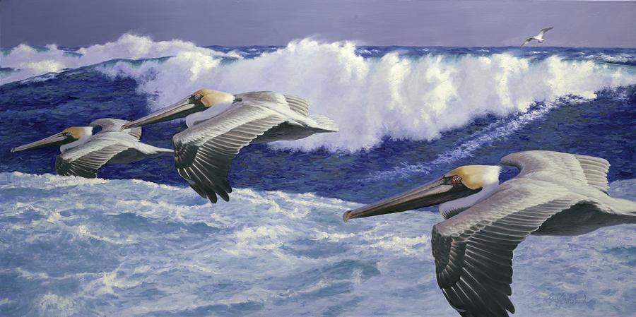 """""""Seacoast Pelicans""""  -  30"""" x 60"""" """"Seacoast Pelicans"""" - Water Birds  Waterfowl Paintings  Waterbird Paintings"""