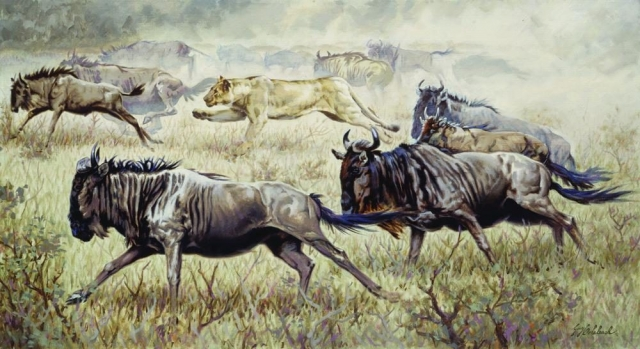 """Serengeti Chase"" <BR>24"" x 44"" ""Serengeti Chase"" - African Game  African Game Paintings  Plains Game Art"