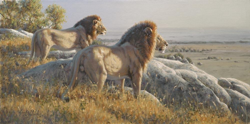 """Serengetti Bachlors""  -  15"" x 30"" ""Serengetti Bachlors"" - Lions  Lion Art  Lion Paintings"