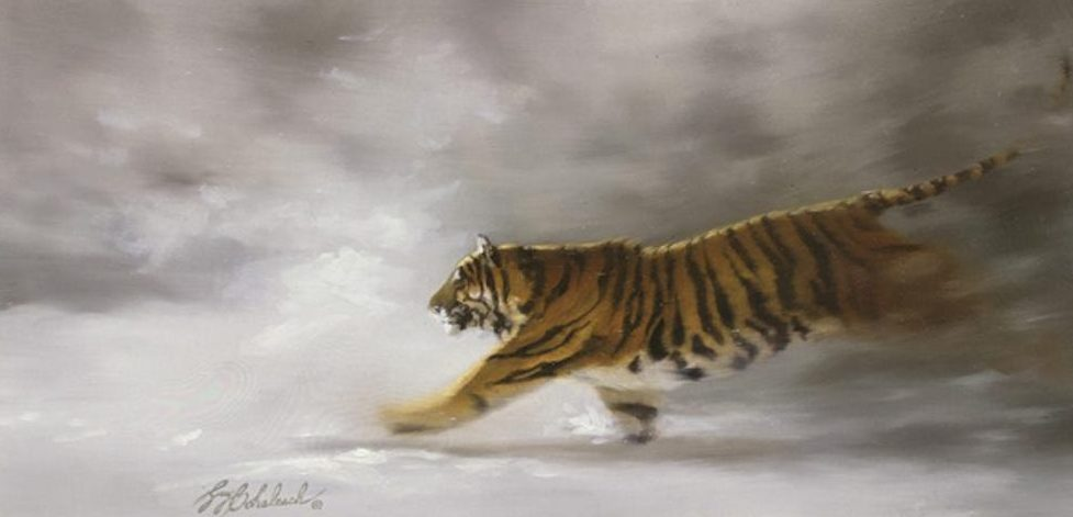 """Siberian Chase"" - 10"" x 20"" ""Siberian Chase"" - Tigers  Bengal Tiger  Siberian Tiger"