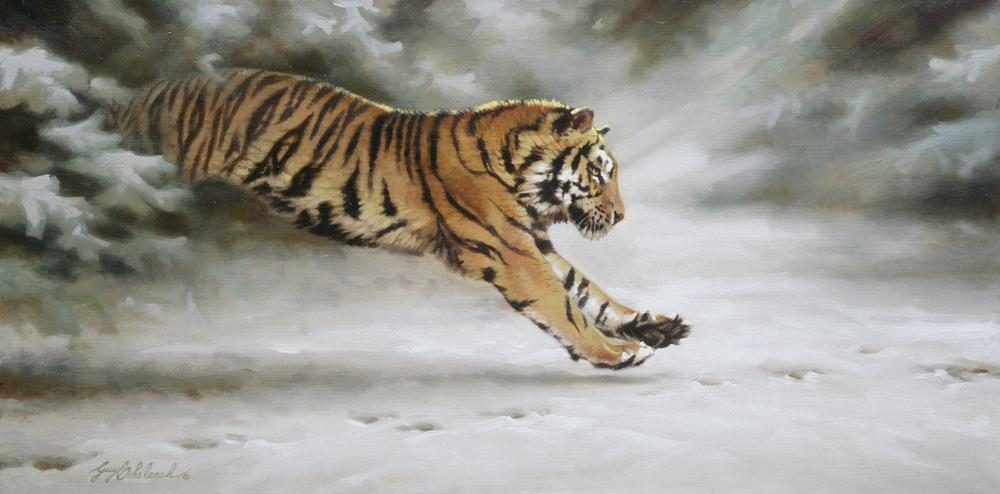 """Siberian Pursuit""  -  15"" x  30"" ""Siberian Pursuit""  - Tigers  Bengal Tiger  Siberian Tiger"