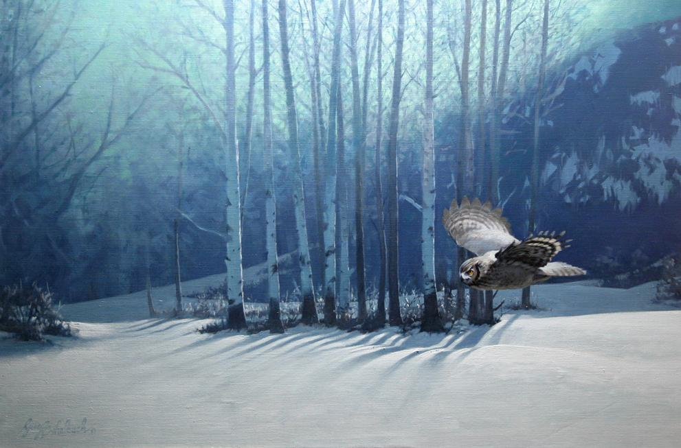 """Silent Night""  -  30"" x 40"" ""Silent Night"" - Owls  Owl Paintings  Owl Artwork"