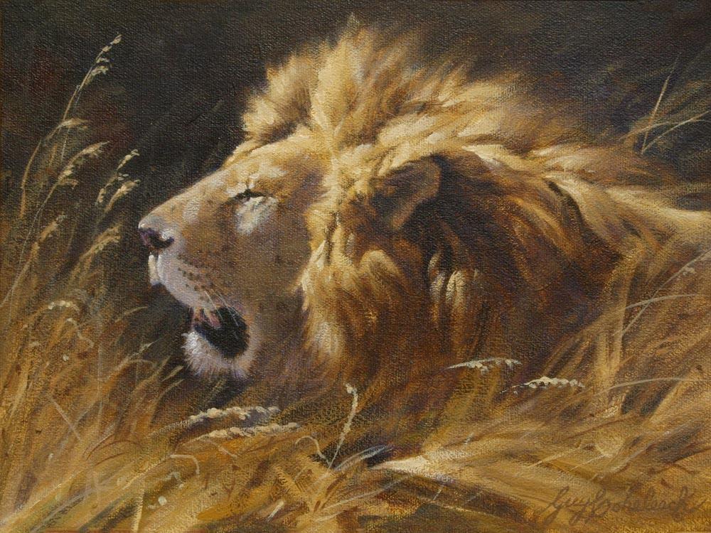 """""""Simba Rest""""  -  9"""" x 12"""" """"Simba Rest"""" - Lions  Lion Art  Lion Paintings"""