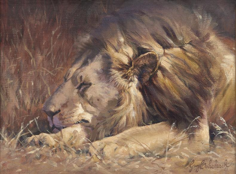 """Simba Snooze""  -  9"" x 12"" ""Simba Snooze"" - Lions  Lion Art  Lion Paintings"