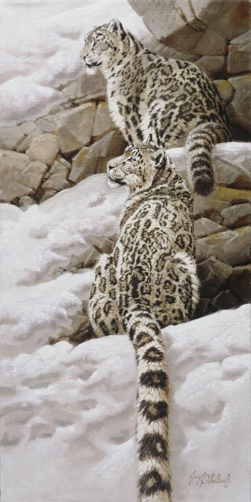 """Snow Leopards""   -  18"" x 36"" ""Snow Leopards"" - Leopards  Leoparp Paintings  Leopard Art"