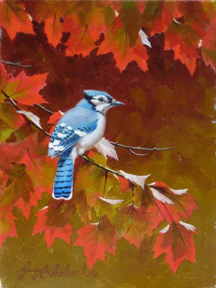 """Southern RedMaple Blue Jay""  -  12""  x 9 "" ""Southern Maple Blue Jay"" - Birds  Song Birds  Game Birds"