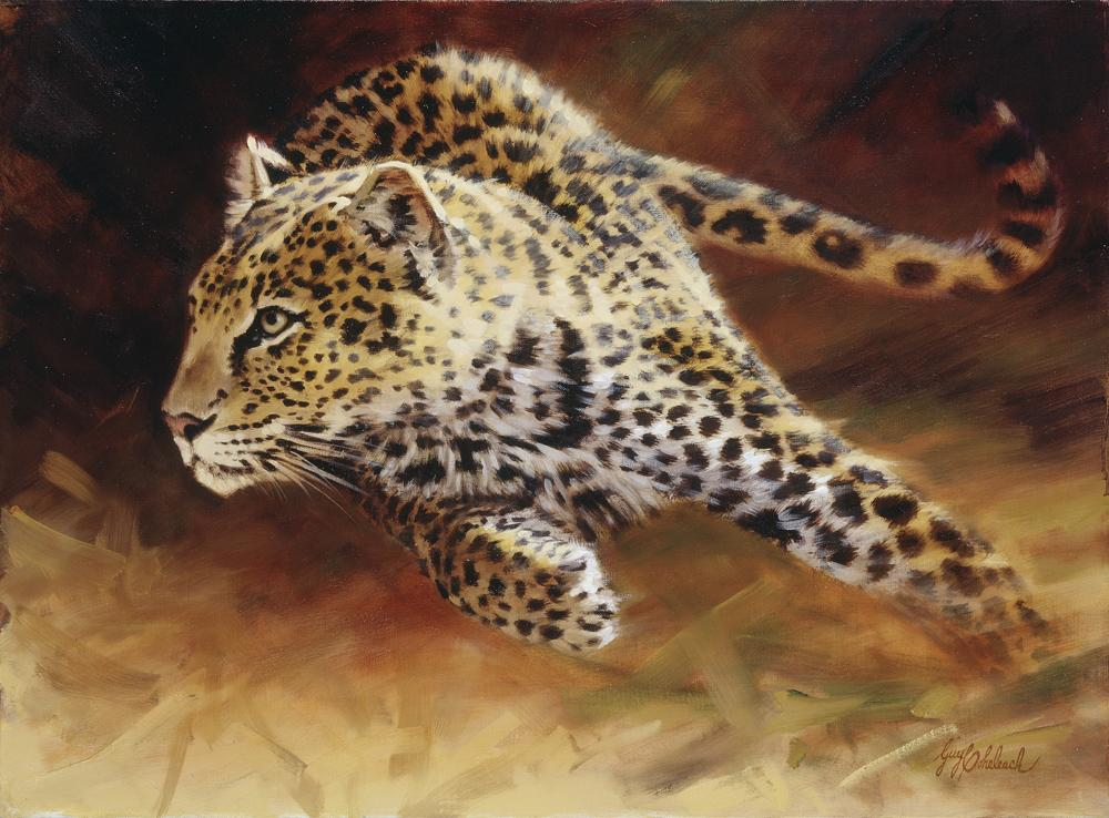 """Speed""  -  22"" x 30"" ""Speed"" - Leopards  Leoparp Paintings  Leopard Art"