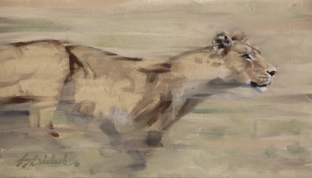 """""""Speed / Lioness""""  -  8"""" x 14"""" """"Speed / Lioness"""" - Lions  Lion Art  Lion Paintings"""