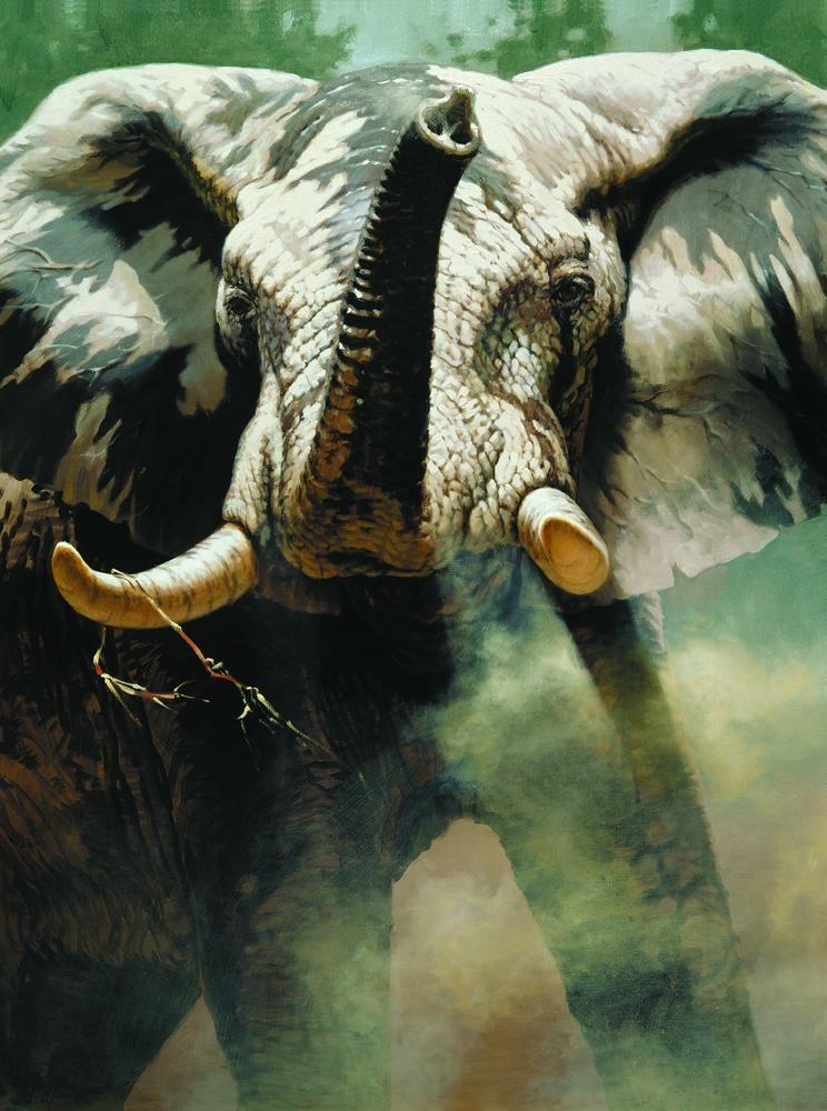 """""""The Last Waterhole""""   -  48"""" x 36"""" """"The Last Waterhole"""" - Elephants  Elephant Paintings  Elephant Art"""