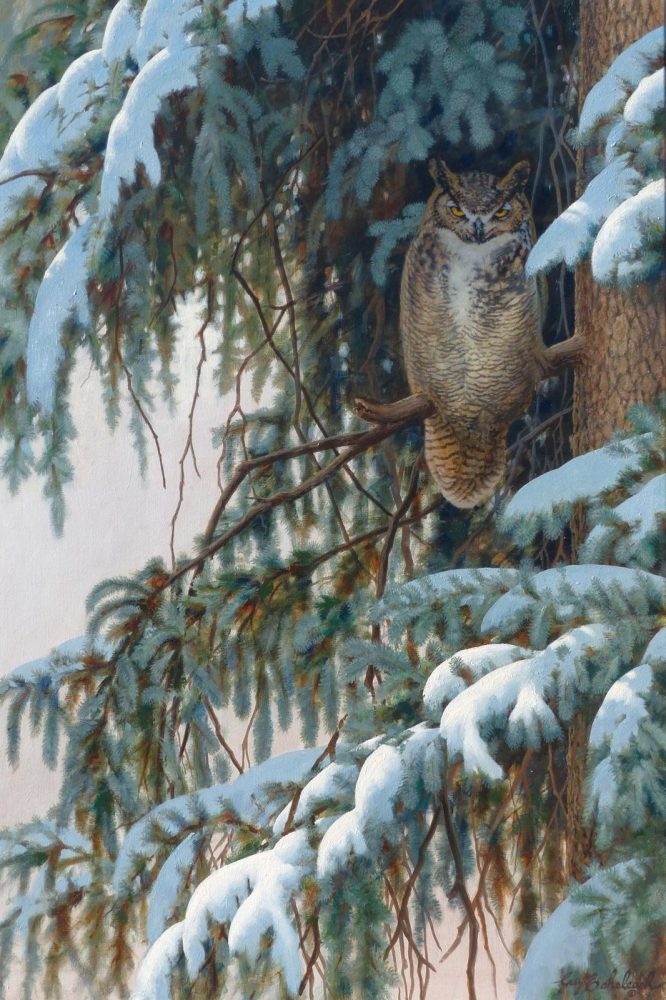 "'The Retreat"" Great Horned Owl  -  36"" x 24"" 'The Retreat"" Great Horned Owl - Owls  Owl Paintings  Owl Artwork"