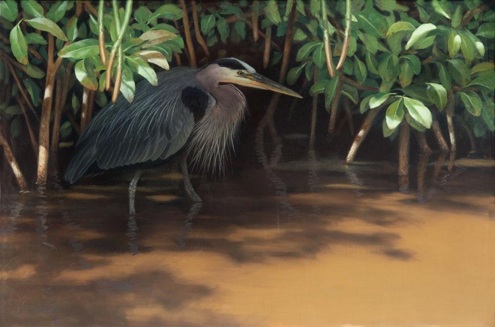 """""""The Sneak""""  -  24"""" x 36"""" """"The Sneak"""" - Water Birds  Waterfowl Paintings  Waterbird Paintings"""