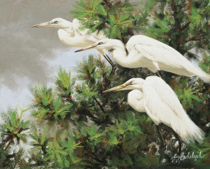 """Threegrets""  -  8"" x 11"" ""Threegrets"" - Water Birds  Waterfowl Paintings  Waterbird Paintings"