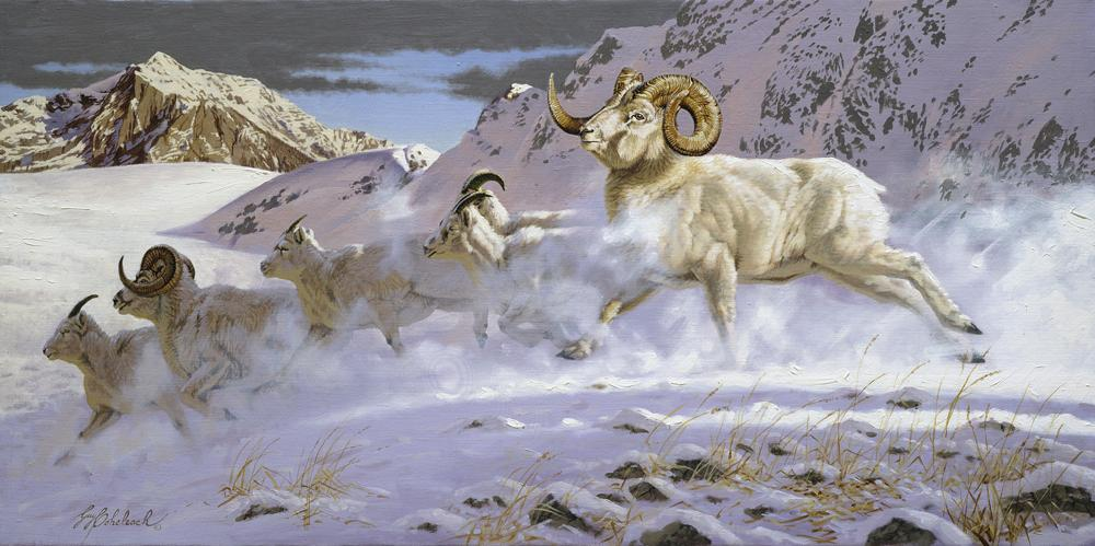 """Thru The Pass""  -  12"" x 24"" ""Thru The Pass"" - American Game  American Big Game  American Prey Animals"