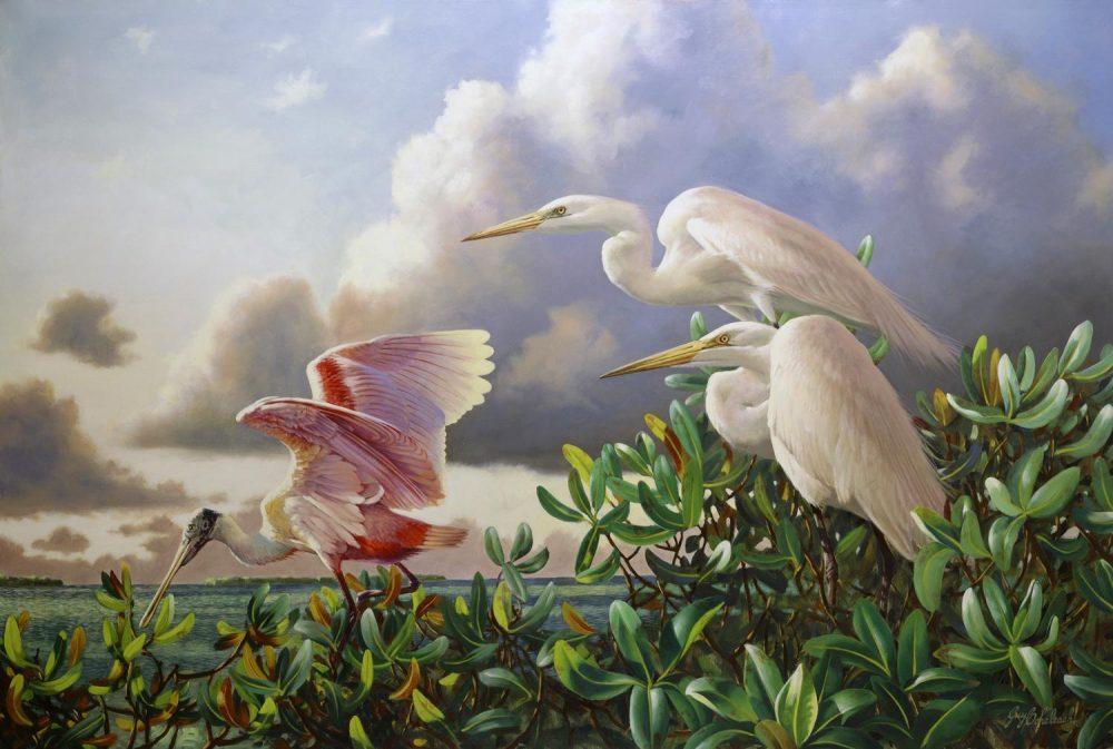 """""""Tudor Keygrets""""  -  48"""" x 72"""" Tudor Keygrets - Water Birds  Waterfowl Paintings  Waterbird Paintings"""