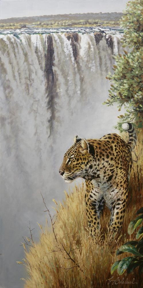 """Vic Falls Leopard SCI""  -  30"" x 15"" ""Vic Falls Leopard"" - Leopards  Leoparp Paintings  Leopard Art"