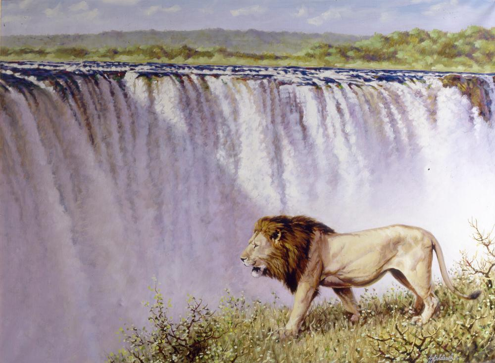 """""""Vic Falls Lion""""  -  30"""" x 40"""" """"Vic Falls Lion"""" - Lions  Lion Art  Lion Paintings"""