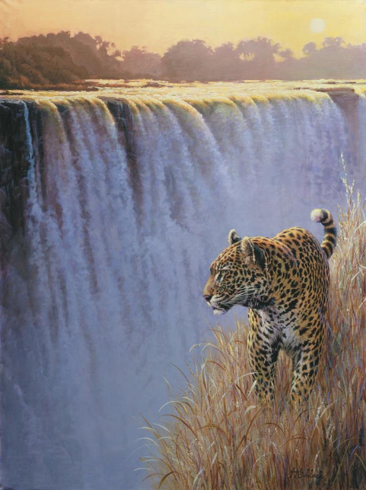 """Vic Falls Twilight Leopard""  -  48"" x 36"" ""Vic Falls Twilight Leopard"" - Leopards  Leoparp Paintings  Leopard Art"
