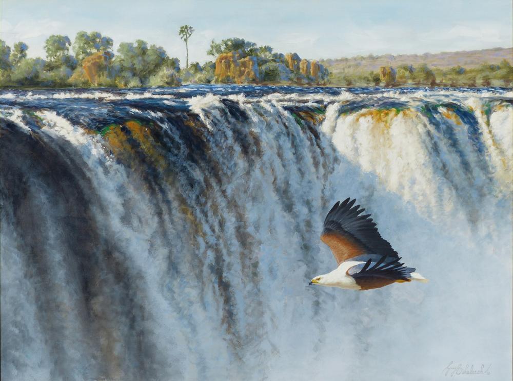 """Victoria Falls & Fish Eagle"" <br> Africa - 30"" x 40"" ""Victoria Falls""  recent painting  newest artwork"