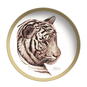 White Tiger Head - Collectable Plate by Guy Coheleach - K&K Wildlife Art - White Tiger Head Plate