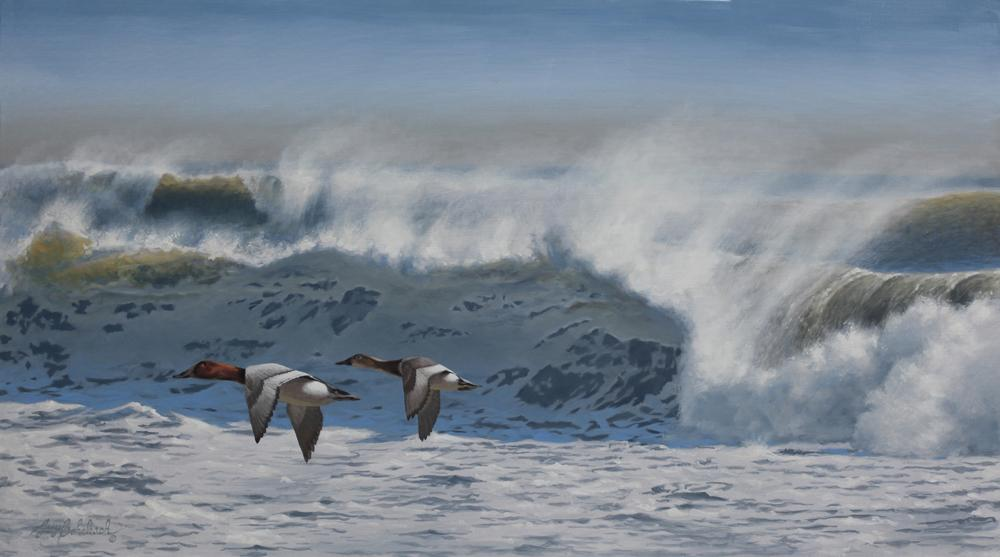 """Windy Surf""  -  30"" x 54"" ""Windy Surf""  recent painting  newest artwork"