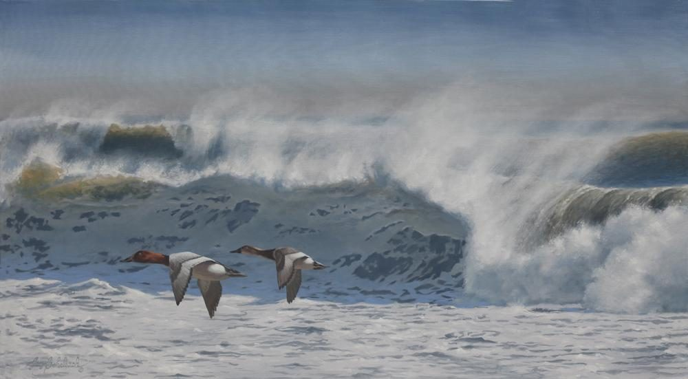 """Windy Surf""  -  30"" x 54"" ""Windy Surf"" - Water Birds  Waterfowl Paintings  Waterbird Paintings"