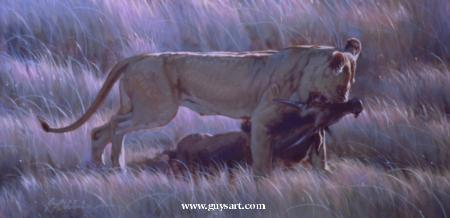 """Working Lady of the Evening""   -  24"" x 48"" ""Working Lady of the Evening"" - Lions  Lion Art  Lion Paintings"