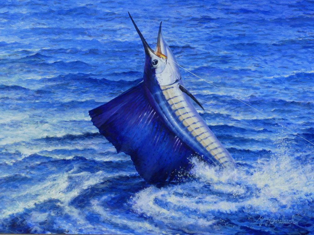 SAILFISH 30 X 40 797 by Guy Coheleach Oil on Linen Canvas