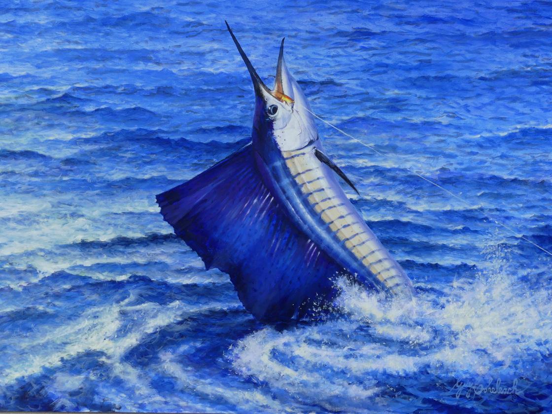 SAILFISH 30 X 40 797 by Guy Coheleach Oil on Linen Canvas