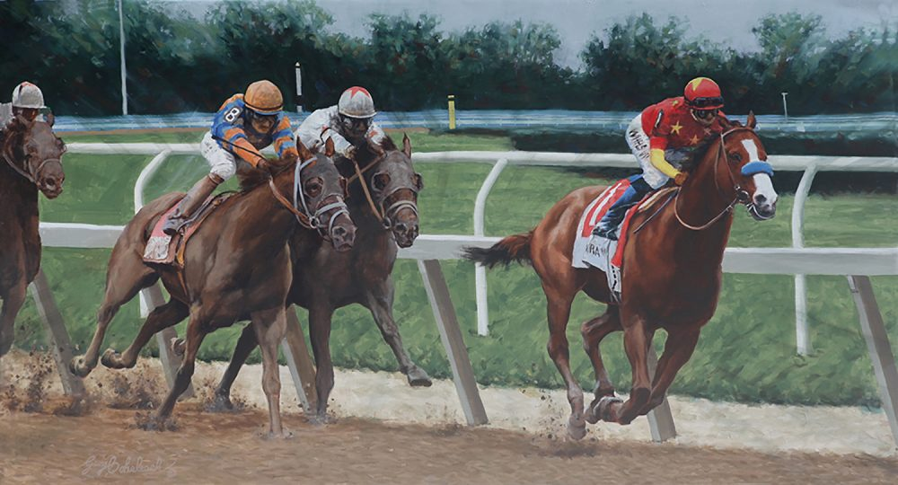 """Justify's Triple Crown 2018"" 24"" x 44""  oil on linen"
